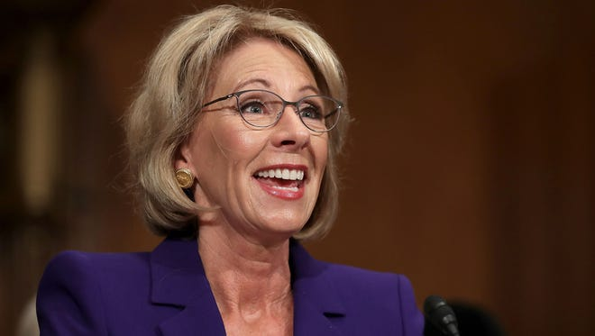 Betsy DeVos, President-elect Donald Trump's pick to be the next Secretary of Education, testifies during her confirmation hearing before the Senate Health, Education, Labor and Pensions Committee in the Dirksen Senate Office Building on Capitol Hill  January 17, 2017 in Washington, DC.