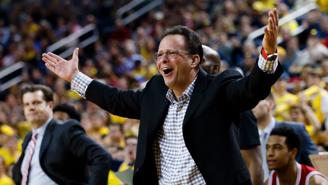 Hoosiers coach Tom Crean reacts during the second half against the Michigan Wolverines at Crisler Center. The Wolverines won 90-60.