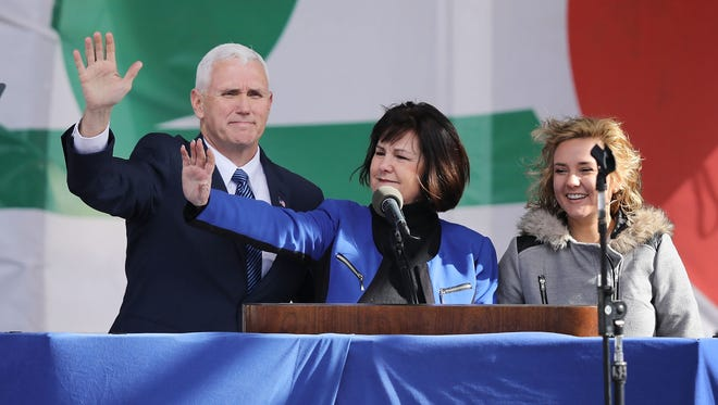Vice President Mike Pence, his wife Karen Pence and their daughter Charlotte Pence arrive for a rally on the National Mall before the start of the annual March for Life.