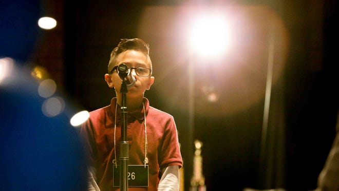 Alex Gil-Hernandez competes during the  Regional Spelling Bee hosted by IUPUI, held at the Anderson Auditorium on the Arsenal Technical High School campus, Jan. 26, 2017.