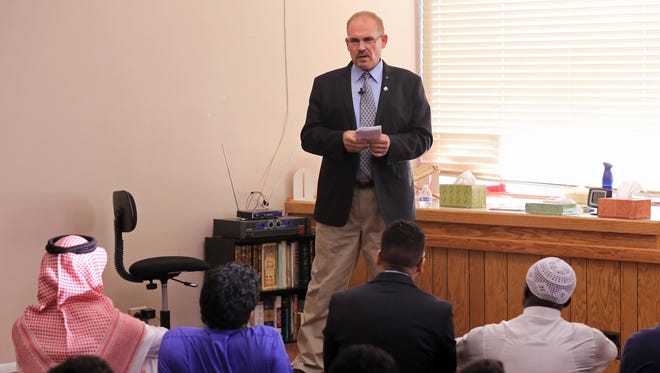 Hussein Samha, a Southern Utah University professor, speaks speaks to fellow Muslims in 2015 at the Al-Hekma Center in Cedar City.