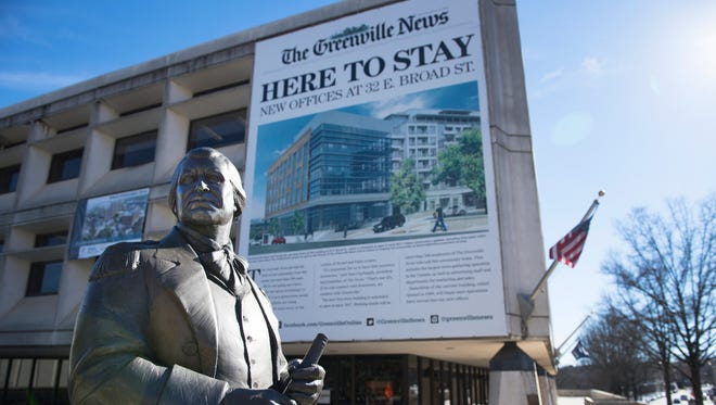 The statue of General Nathanael Greene is currently located outside of the Greenville News Building.