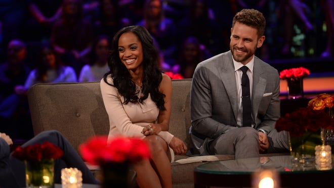 """Rachel Lindsay, the next """"Bachelorette,"""" makes an appearance with Nick Viall on """"The Bachelor: The Women Tell All."""""""