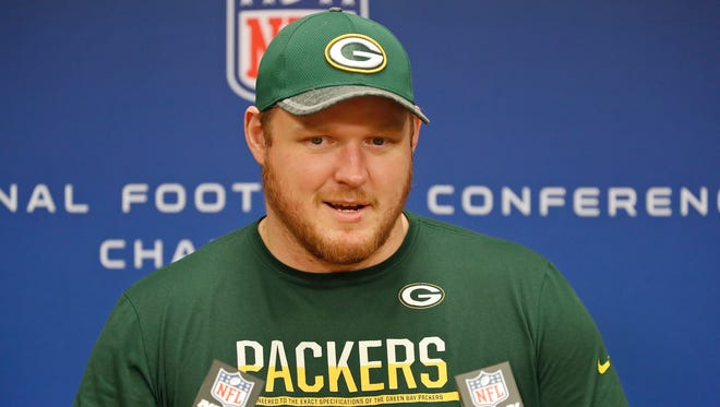 T.J. Lang speaks with the media during a press conference Jan. 18, 2017 in Green Bay.