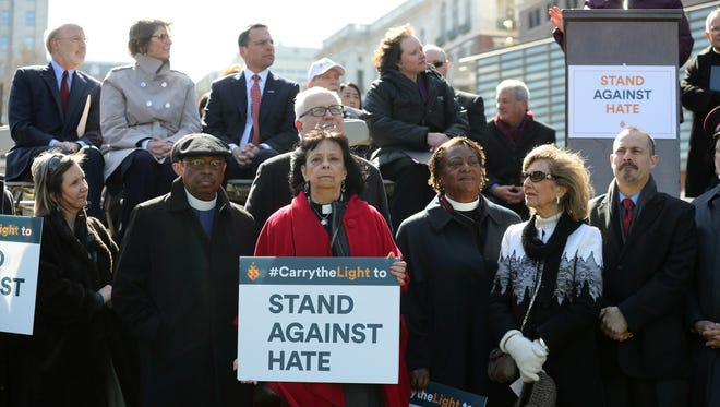 Rev. Ruth Santana-Grace  and other religious leaders joined the Jewish Federation earlier this month in a 'Stand Against Hate' rally in Philadelphia to protest vandalism of Jewish cemeteries and other hate crimes.