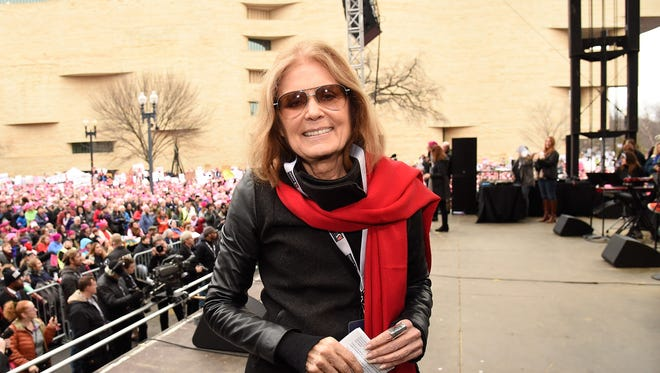 Gloria Steinem onstage at the Women's March on Washington on January 21, 2017.