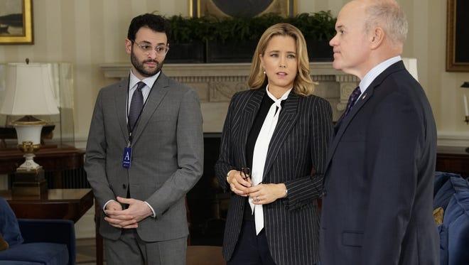 Arian Moayed, Téa Leoni and Mike Pniewski in CBS's 'Madam Secretary.'