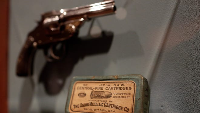 """A ammo cartridge for the revolver used to shoot President William McKinley is seen at the """"Spies, Traitors and Saboteurs: Fear and Freedom in America"""" exhibition at the Chicago History Museum on Monday, April 10, 2016 in Chicago."""