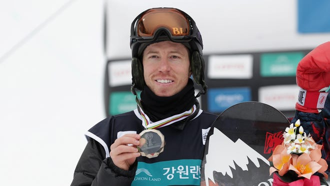 Shaun White after placing second place in the FIS Snowboard World Cup Men's Halfpipe Finals at Bokwang Snow Park in Pyeongchang-gun, South Korea, in February.