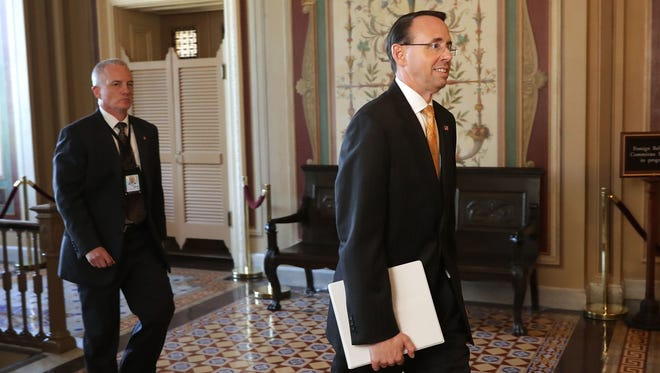 Deputy Attorney General Rod Rosenstein leaves the U.S. Capitol following a closed-door briefing with members of the House of Representatives on May 19, 2017.