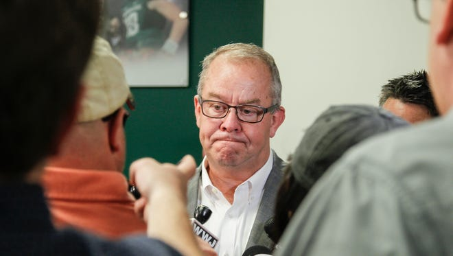 Mark Hollis, Michigan State's athletic director, spoke Tuesday to a bevy of reporters after a press conference that announced the dismissal of three football players. The now former players face sexual assault charges. Hollis said he will do everything possible to make sure the campus is a safe place for all.