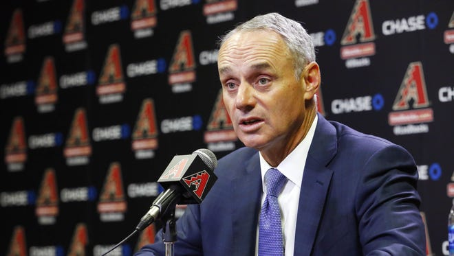 MLB Commissioner Rob Manfred takes sides in the tiff between the Diamondbacks  and Maricopa County Tuesday, June 6, 2017 in Phoenix, Ariz.