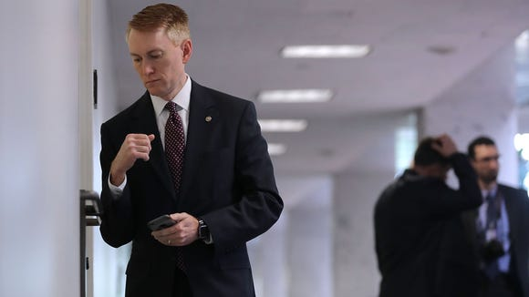 Sen. James Lankford arrives for a closed-door meeting in the Hart Senate Office Building on April 25, 2017.