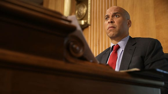Senate Foreign Relations Committee member Sen. Cory Booker (D-NJ) participates in a committee hearing about Libya in the Dirksen Senate Office Building on Capitol Hill April 25, 2017 in Washington, D.C.