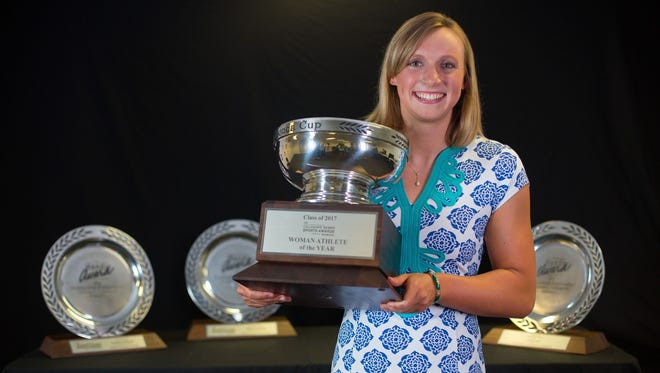 Olympian Katie Ledecky  of Stanford University was named the Collegiate Woman Athlete of the Year and presented with the prestigious Honda Cup on June 26.