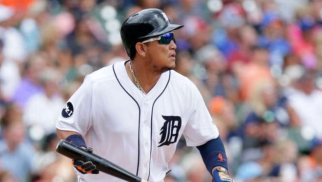 Tigers' Miguel Cabrera watches his sacrifice fly during the first inning against the Blue Jays at Comerica Park on July 16, 2017.