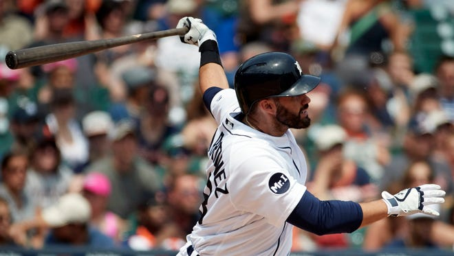 Jun 4, 2017: Detroit Tigers right fielder J.D. Martinez (28) hits a home run in the fourth inning against the Chicago White Sox at Comerica Park.
