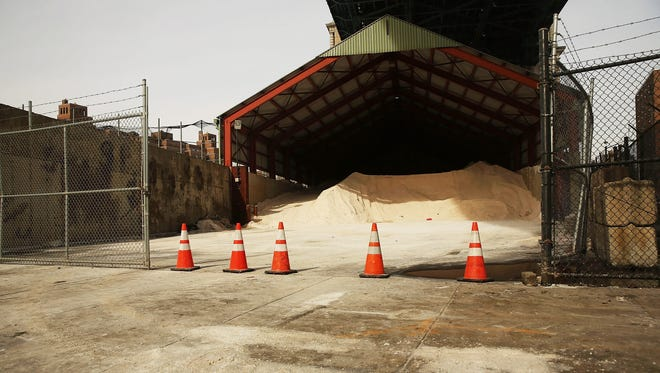 Road salt sits in a city storage depot storage on February 12, 2014 in New York City.
