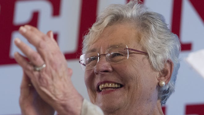"Gov. Kay Ivey is all smiles as the city of Camden and Wilcox County celebrate Kay Ivey day at The Shed outside of Camden on June 30, 2017. A spokesman with Ivey's office said she is ""seriously considering"" a full term of her own in 2018."
