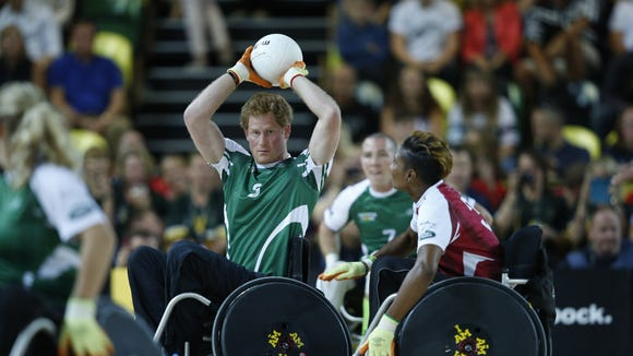 Prince Harry joined the athletes for a rugby game.