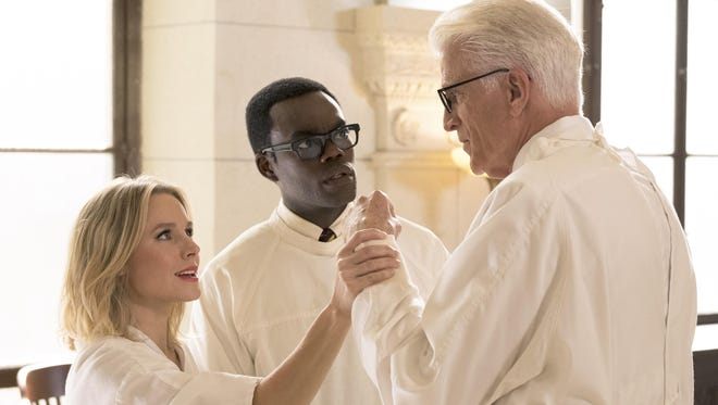 """Huntington Woods native Kristen Bell, left, William Jackson Harper, and Ted Danson star in NBC's """"The Good Place."""""""