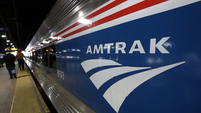 An Amtrak train waits at a platform prior to its departure at Union Station Nov. 22, 2017 in Washington, D.C.