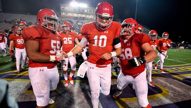 Brentwood Academy's Gavin Schoenwald (10) celebrates after the team's Division II-AAA state championship victory against MBA on Dec. 2.