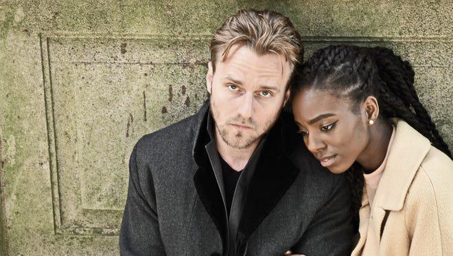 "Sam Ashdown as Hamlet and Chelsea Bell as Ophelia in Nashville Shakespeare Festival's production of ""Hamlet."""