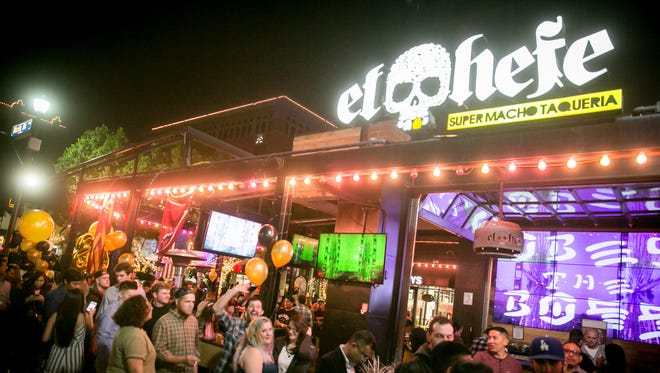 Wild times were had at El Hefe during New Year's Eve on Mill Avenue in Tempe on Sunday, December 31, 2017.