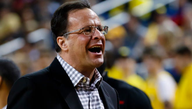 Jan 26, 2017; Ann Arbor, MI, USA; Indiana Hoosiers head coach Tom Crean reacts during the first half against the Michigan Wolverines at Crisler Center. Mandatory Credit: Rick Osentoski-USA TODAY Sports