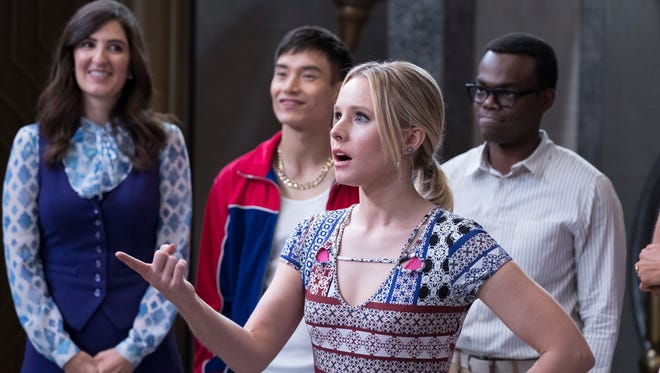 D'Arcy Carden as Janet, Manny Jacinto as Jianyu, Kristen Bell as Eleanor, William Jackson Harper as Chidi on 'The Good Place.'