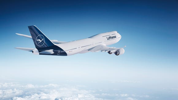 This image provided by Lufthansa shows its new paint
