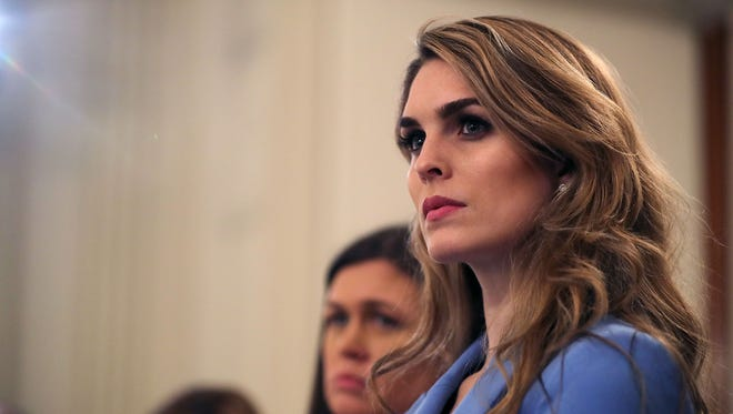 Hope Hicks attends a session hosted by  President Trump with student survivors of school shootings, their parents and teachers in the State Dining Room at the White House on Feb. 21, 2018 in Washington.