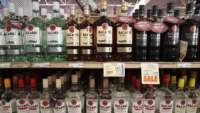 Bacardi rum products are offered for sale at a liquor store.
