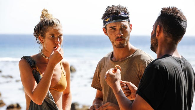 """From left are """"Survivor: Ghost Island"""" contestants Jenna Bowman, Michael Yerger and Domenick Abbate ."""