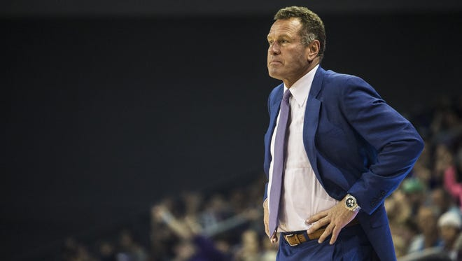 GCU head coach Dan Majerle watches from the sideline during the game against Little Rock at Grand Canyon University Arena on Saturday, Nov. 18, 2017 in Phoenix. GCU won, 76-51.