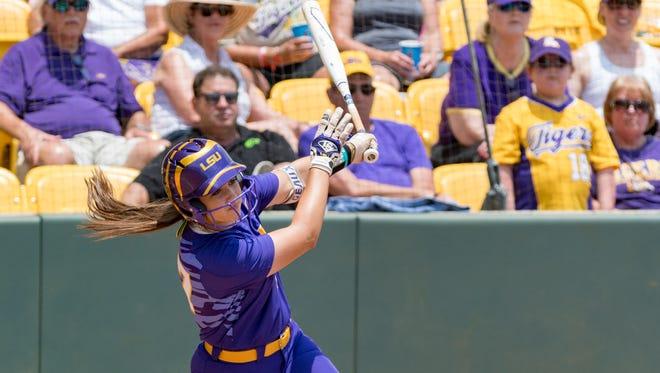 Shelbi Sunseri at the plate during the NCAA Div 1 Tournament in Baton Rouge, LA. Saturday, May 19, 2018.