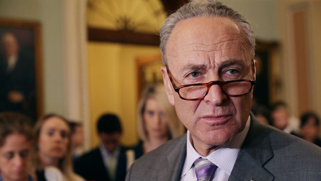 Senate Minority Leader Charles Schumer (D-NY) talks to reporters following the weekly Senate Democratic policy luncheon at the U.S. Capitol on May 22, 2018 in Washington, D.C.