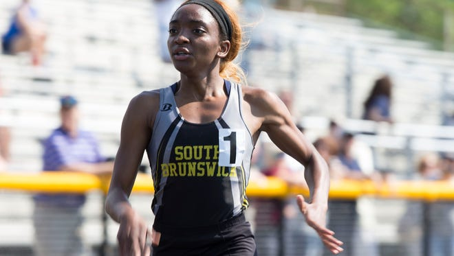 Essence Baker of South Brunswick wins the 800m race. NJSIAA Central Groups I and IV Track and Field Championships held at Howell High School.Howell, NJSaturday, May 26, 2018@dhoodhood
