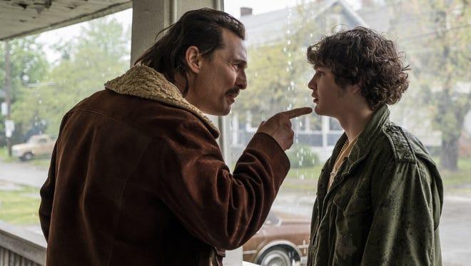 "Richard Wershe Sr. (Matthew McConaughey) and White Boy Rick (Richie Merritt) have a dysfunctional father-son dynamic in ""White Boy Rick."""