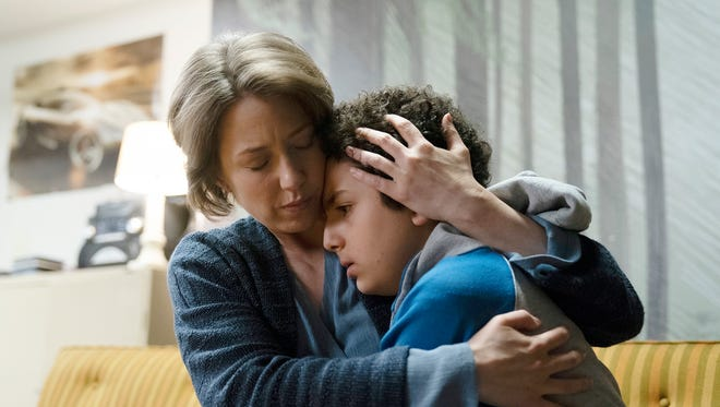 "Carrie Coon as Vera Walker and Elisha Henig as Julian Walker on ""The Sinner"" Season 2."