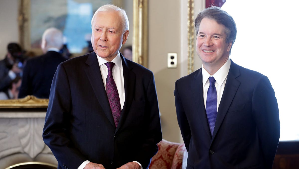 Sen. Orrin Hatch, left, and Judge Brett Kavanaugh
