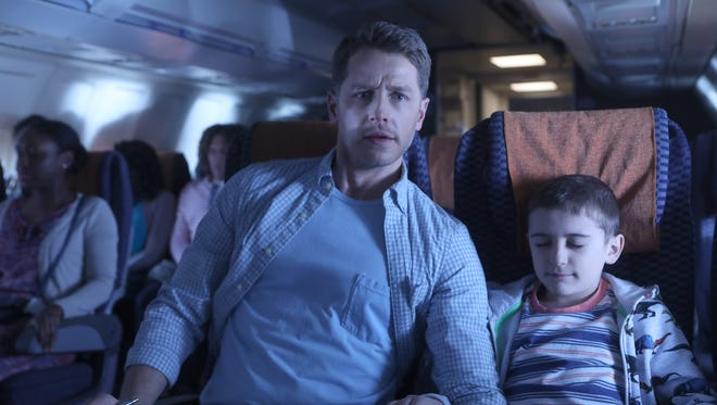 """Josh Dallas as Ben Stone, Jack Messina as Cal Stone on """"Manifest,"""" the new season's top-rated newcomer."""