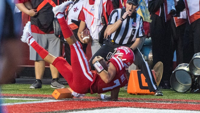 UL quarterback Andre Nunez makes his way to the end zone for a touchdown in the Ragin' Cajuns' season-opening 49-17 win over Grambling on Saturday night at Cajun Field.