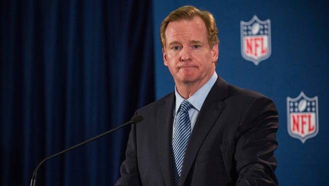 NFL Commissioner Roger Goodell holds a news conference  Oct. 8 in New York. Goodell addressed the media at the conclusion of the annual fall league meetings in the wake of a string of high-profile incidents, including the domestic violence case of Ray Rice.