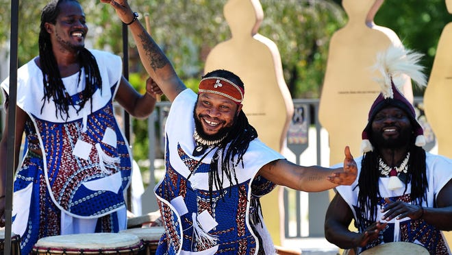 The Akwaaba Ensemble perform livestreamed from the Portsmouth African Burying Ground as part of a Juneteenth celebration Friday.