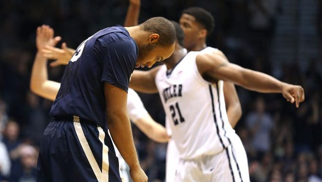 Myles Davis' disappointment was evident after Xavier's 88-76 loss to Butler, Saturday at Hinkle Fieldhouse. XU's next game is at No. 8 Villanova.
