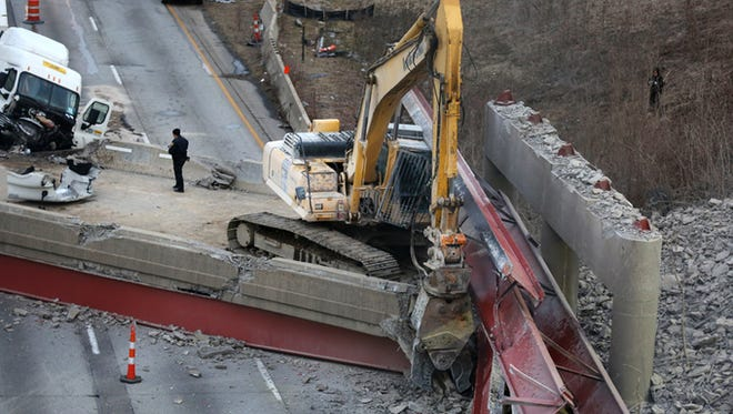 The Hopple Street overpass collapse Tuesday morning