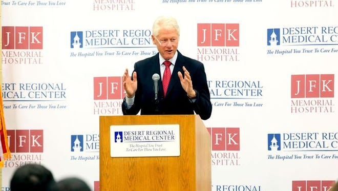 Former President Bill Clinton speaks at the Desert Highland Gateway community center in Palm Springs during the first public event of Health Matters 2015. The event was hosted by Desert Regional Medical Center on Saturday January 24, 2015.