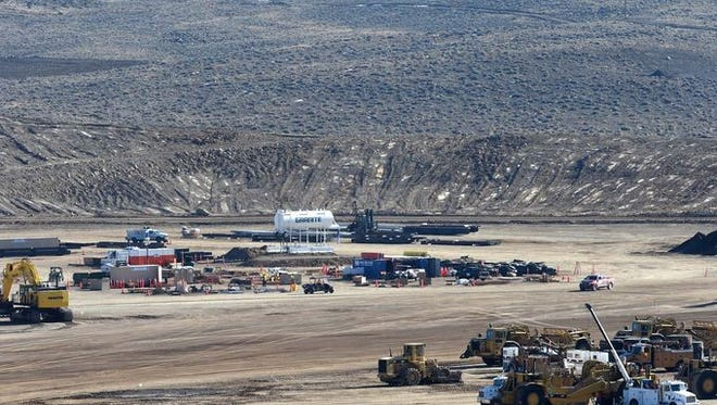 Work continues at the Tesla Motors gigafactory site at Tahoe-Reno Industrial Center.